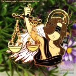Enamel Pin Blind Angel of Justice holding scales, angelcore aesthetic pin, christcore aesthetic