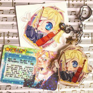 Boys Outta Luck! Cellist charm keychain accessory