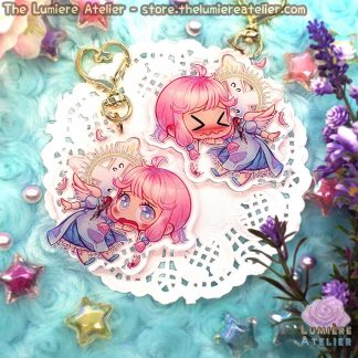 Beheaded Angel Dullahan Charm Keychain Cute Pastel Gore