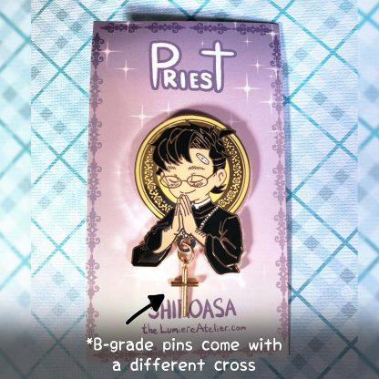 Praying Priest Hard Enamel Pin, Christian Aesthetic