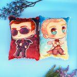 Good Omens Aziraphale Crowley Handmade Plush Stuffed Pillow, ineffable husbands