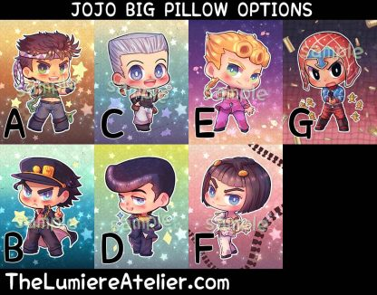Jojo Handmade Plush Stuffed Pillow, Joseph, Jotaro, Josuke, Giorno, Bruno, Polnareff, Mista