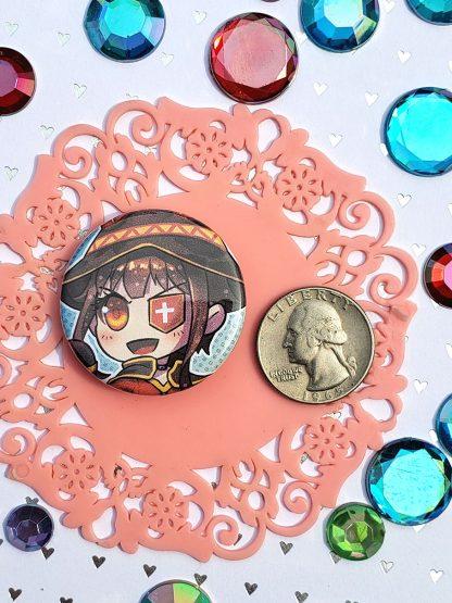 KonoSuba Pinback Buttons, Aqua, Megumin, Darkness