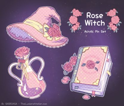 Rose Witch Acrylic Pin Occult Aesthetic