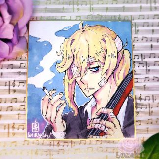 Cellist from Boys Outta Luck! on shikishi board