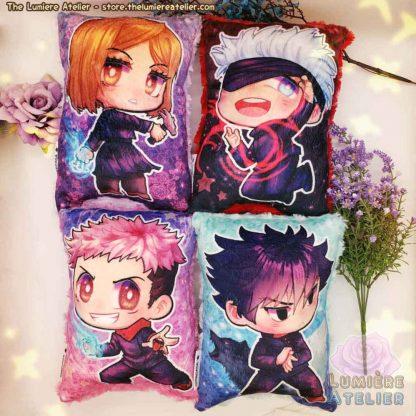 Jujutsu Kaisen plush pillow with Itadori Yuji, Nobara Kugisaki, Satoru Gojo and Megumi Fushiguro